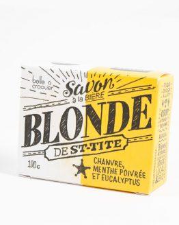 Savon à la bie`re blonde de St-Tite chanvre, menthe poivrée et eucalyptus de Belle à Croquer