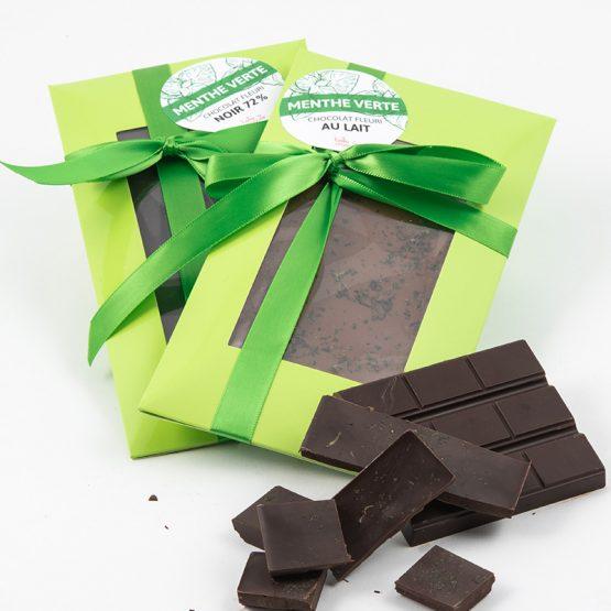Chocolat fleuri à la menthe verte de Belle à Croquer