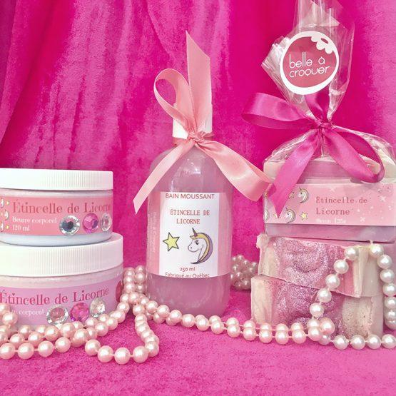 Gamme de produits Étincelle de licorne de Belle à Croquer